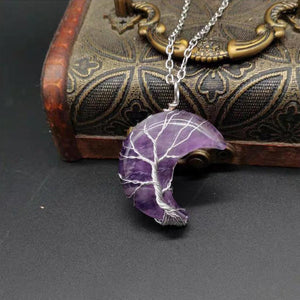 Tree of Life Crescent Moon Necklace