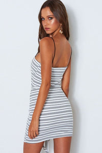 Best Knit Black And White Striped Casual Dress