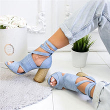 Load image into Gallery viewer, Casual Solid Color Lace Up High Heel Sandals