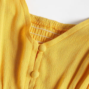 Hollow Out A Line Cami Dress - Yellow