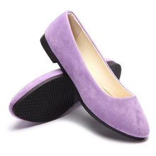Load image into Gallery viewer, Big Size Suede Candy Color Pure Color Pointed Toe Light Slip On Flat Loafers