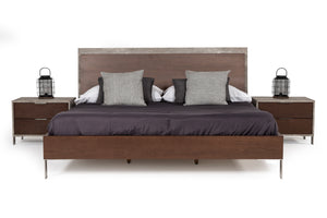 Nova Domus Conner Modern Dark Walnut & Faux Concrete Bedroom Set