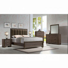 Load image into Gallery viewer, Cyrille Queen Bed (Padded HB) - 25850Q - Fabric & Walnut