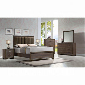 Cyrille Queen Bed (Padded HB) - 25850Q - Fabric & Walnut