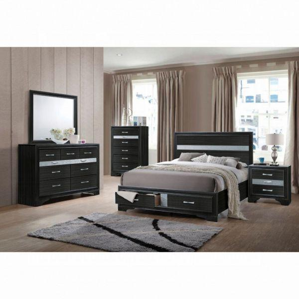 Naima Queen Bed w/Storage - 25900Q - Black