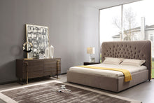 Load image into Gallery viewer, Modrest Moontide - Eastern King Glam Beige Velvet and Brushed Brass Bed
