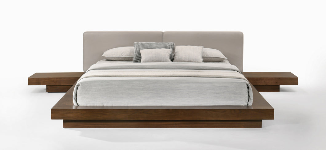 Modrest Tokyo - Contemporary Walnut and Grey Platform Bed