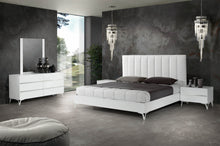 Load image into Gallery viewer, Nova Domus Angela - Italian Modern White Eco Leather Bed w/ Nightstands