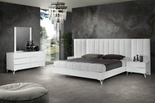 Load image into Gallery viewer, Nova Domus Angela - Italian Modern White Eco Leather Bed w/ Nightstands and Wings