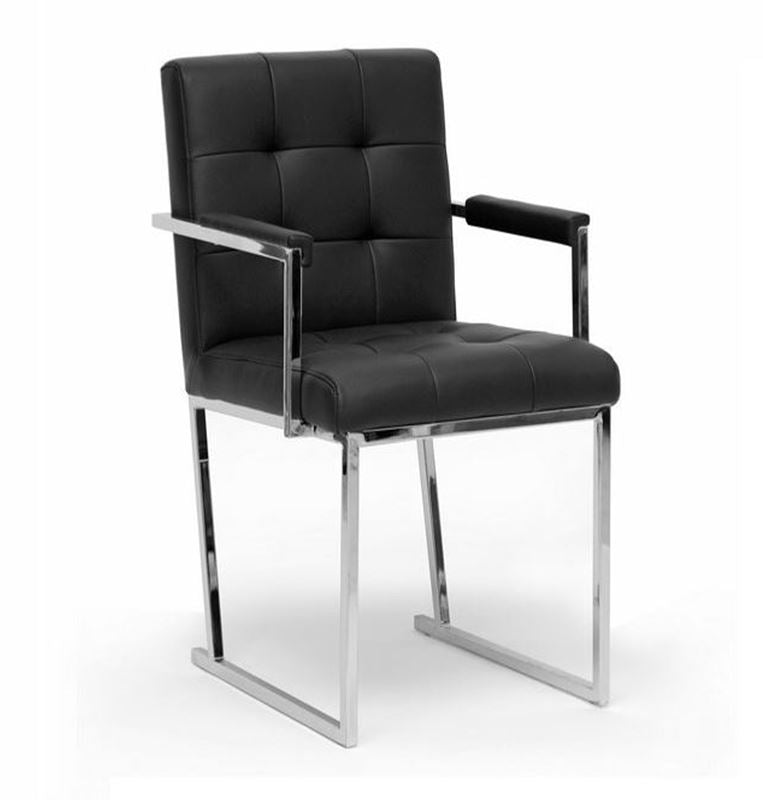 Modrest Click Modern Black Leatherette Dining Arm Chair