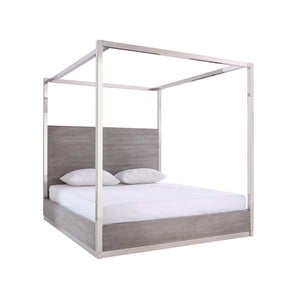 Modrest Arlene Modern Grey Elm & Stainless Steel Canopy Bed