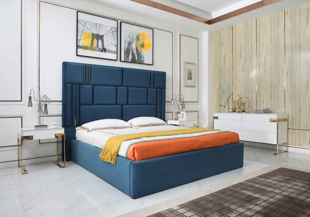 Modrest Adonis - Modern Blue Fabric Bed