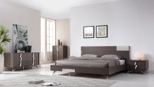Modrest Nicola Modern Grey Oak & Stainless Steel Bed