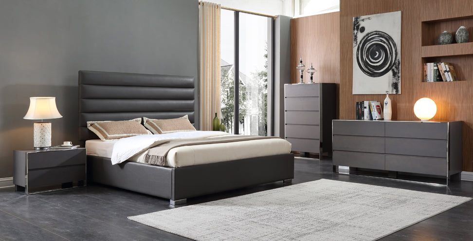 Modrest Lucy Modern Grey Leatherette Bed