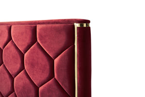 Modrest Janet Modern Red Velvet & Gold Bed
