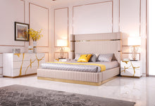 Load image into Gallery viewer, Modrest Aspen Modern Beige Bonded Leather & Gold Bed