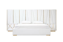 Load image into Gallery viewer, Modrest Nixa Modern White Bonded Leather & Gold Bed