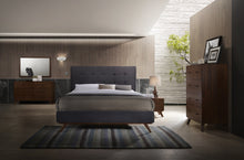 Load image into Gallery viewer, Modrest Addison Mid-Century Modern Grey Fabric & Walnut Bed