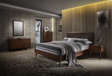Load image into Gallery viewer, Modrest Marshall Mid-Century Modern Brown Fabric & Walnut Bedroom Set