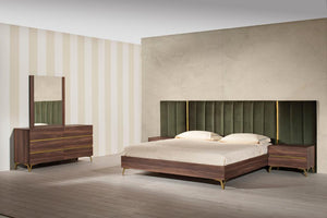 Nova Domus Calabria Modern Walnut & Green Velvet Bed & Nightstands