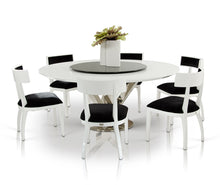 Load image into Gallery viewer, A&X Spiral - Modern Round White Dining Table with Lazy Susan
