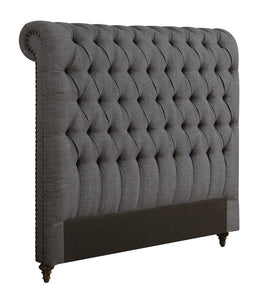 Devon Button Tufted Upholstered Bed - Grey
