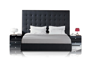 Modrest Lyrica - Black Leatherette Tall Headboard Bed