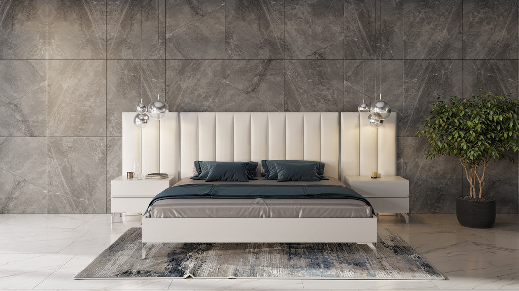 Nova Domus Angela - Italian Modern White Eco Leather Bed w/ Nightstands and Wings