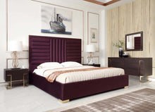 Load image into Gallery viewer, Modrest Daystar Modern Wine Red Velvet & Gold Bed