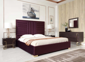Modrest Daystar Modern Wine Red Velvet & Gold Bed