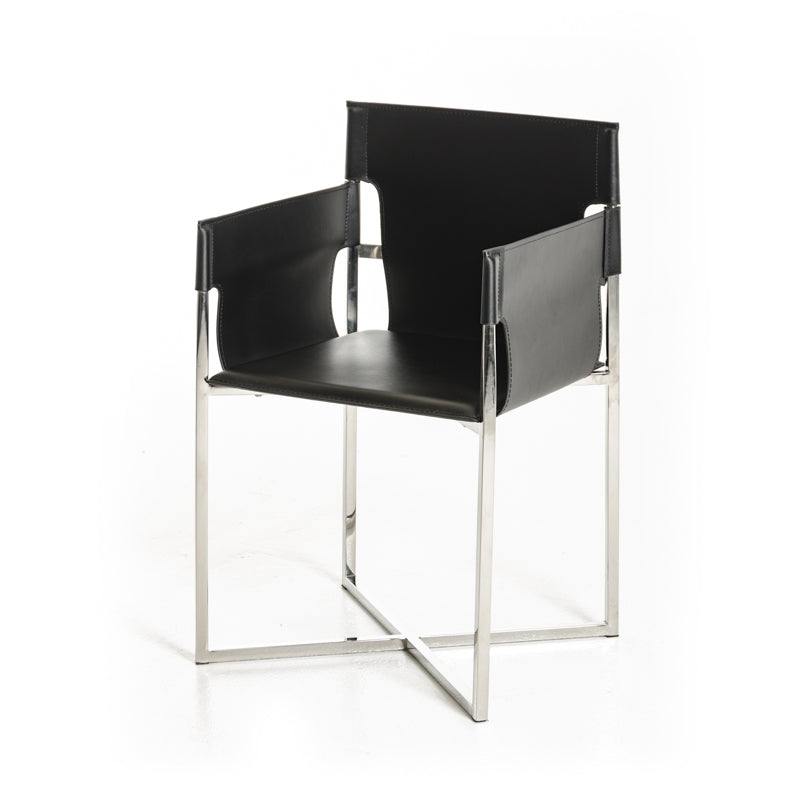 Modrest Jones Modern Black Eco-Leather Dining Chair