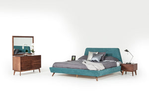 Modrest Lewis Mid-Century Modern Teal & Walnut Bed