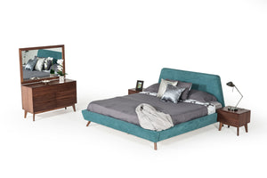Modrest Lewis Mid-Century Modern Teal & Walnut Bedroom Set