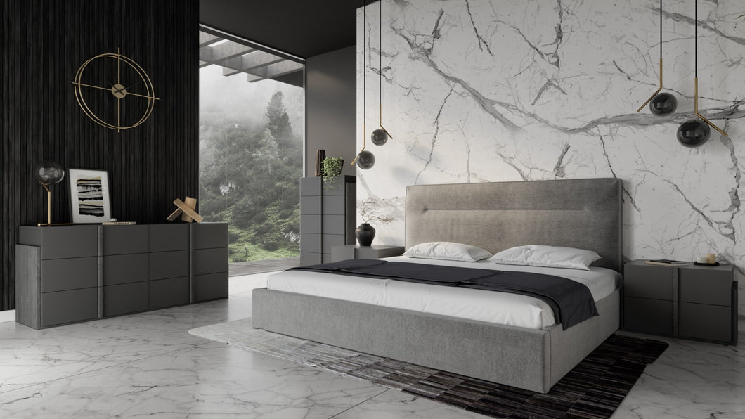 Nova Domus Juliana - Italian Modern Dark Grey Upholstered Bed