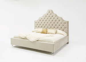 Modrest Sandra Transitional Light Grey Fabric Bed