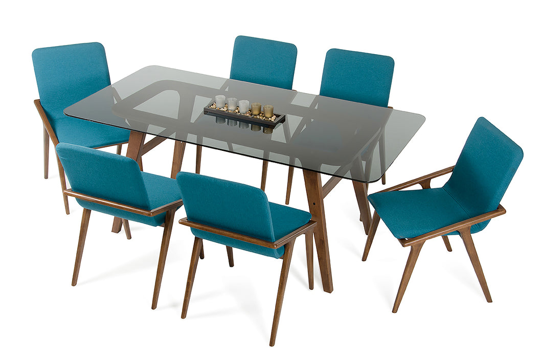 Modrest Zeppelin Modern Smoked Glass Dining Table