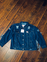 Load image into Gallery viewer, TT Fringed Denim Jacket