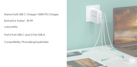 GaN USB C Charger 100W PD Charger 4 Port
