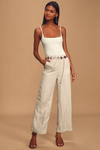 Native Fox Beige Wide-Leg Pants