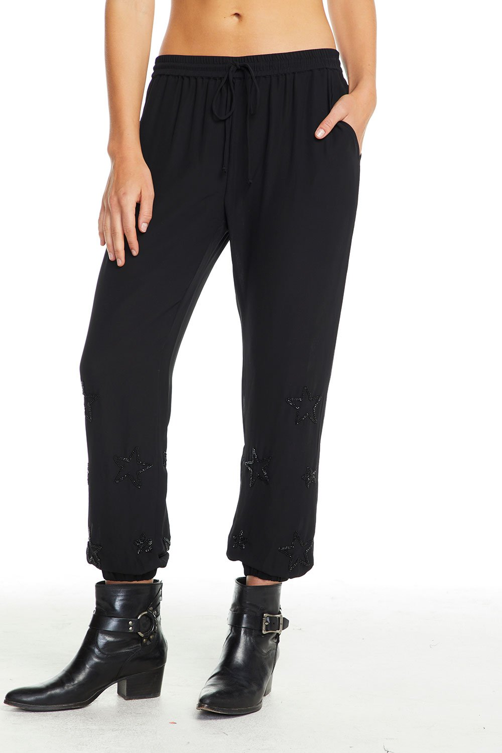Beaded Star Shirred Jogger- CHASER
