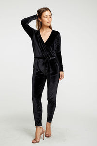 Stretch Surplice Velvet Belted Jumpsuit- CHASER