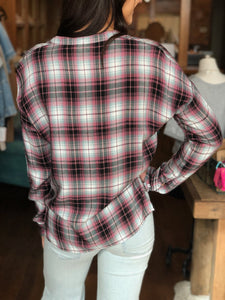 GRAM PLAID TOP-WHITE CROW