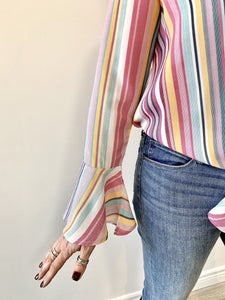 California MoonRise Candy Stripes V-Neck Bell Sleeve Top
