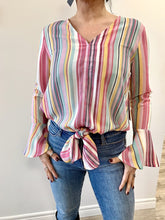 Load image into Gallery viewer, California MoonRise Candy Stripes V-Neck Bell Sleeve Top