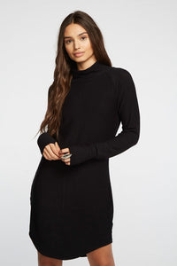 Mock Neck Long Sleeve Dress-CHASER