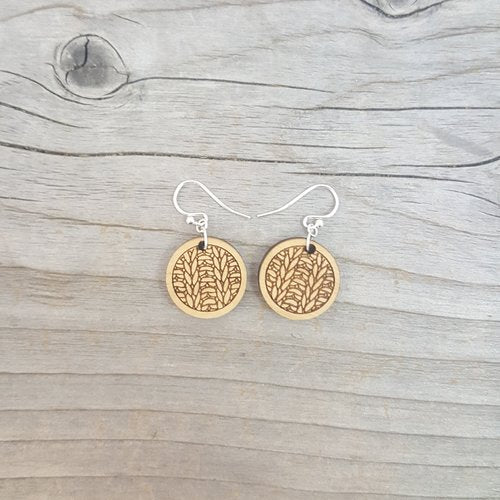 Wooden Knit Stitch Earrings