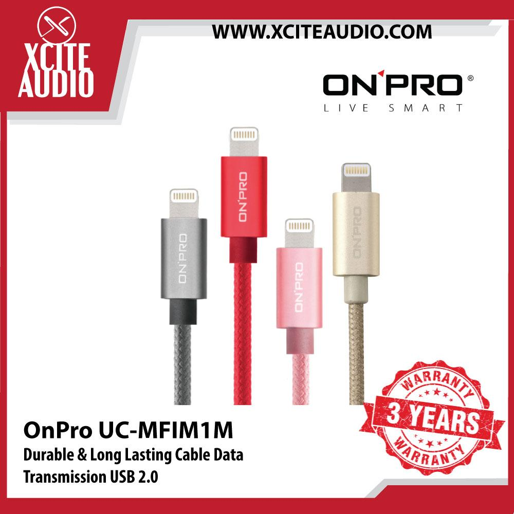 OnPro UC-MFIM1M Durable & Long Lasting Cable Data Transmission USB 2.0 480MB - Xcite Audio