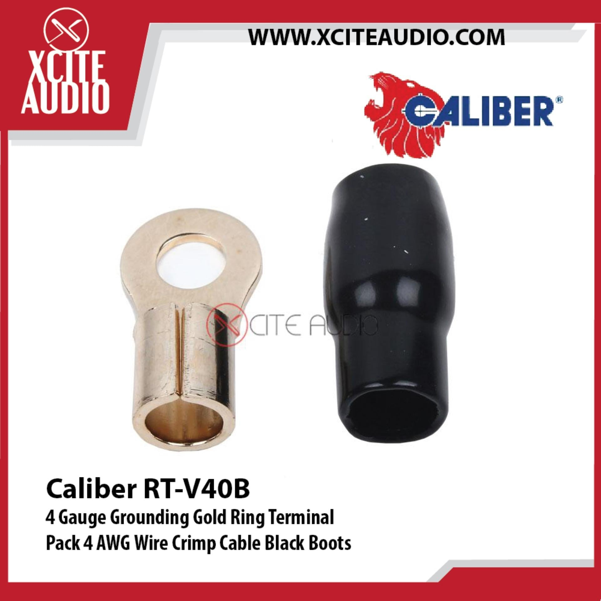 Caliber RT-V40B 4 Gauge Grounding Gold Ring Terminal 4 AWG Wire Crimp Cable Black Boots - Xcite Audio