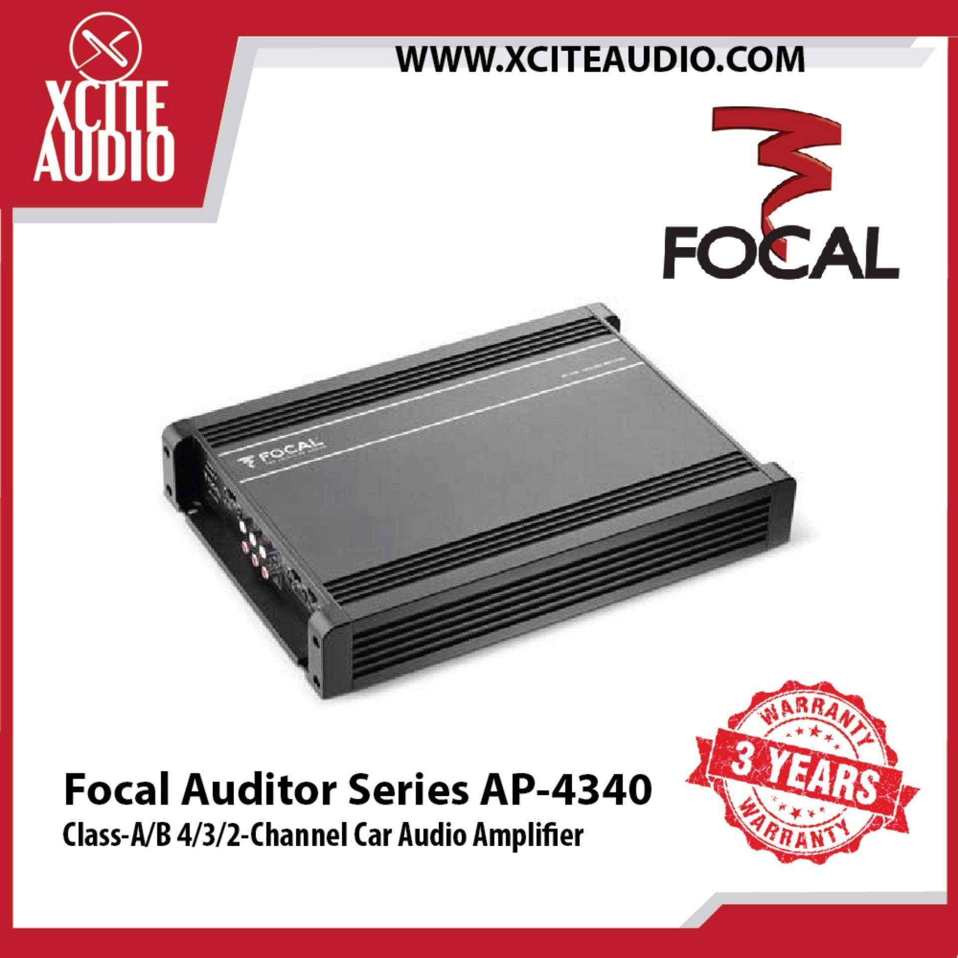 Focal AP-4340 Auditor Series Class-A/B 4/3/2-Channel Car Audio Amplifier - Xcite Audio