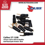 Caliber ST-120B 10 Pieces 12GA to 18GA Car Amplifier Gold Plated Spade Terminal - Black - Xcite Audio